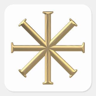 "Golden ""3-D"" Baptismal Cross Square Sticker"