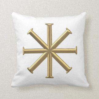 """Golden """"3-D"""" Baptismal Cross Throw Pillow"""