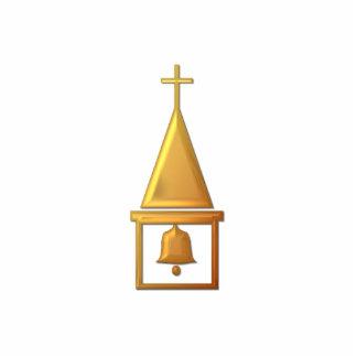 """Golden """"3-D"""" Bell Tower Cutout"""