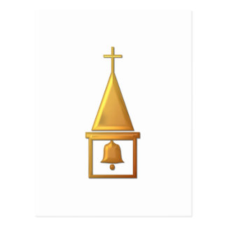 """Golden """"3-D"""" Bell Tower Postcard"""
