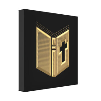 "Golden ""3-D"" Bible / Prayerbook / Hymnal Stretched Canvas Prints"