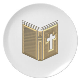 "Golden ""3-D"" Bible / Prayerbook / Hymnal Dinner Plate"