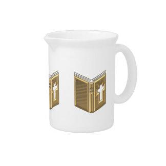 """Golden """"3-D"""" Bible / Prayerbook / Hymnal Drink Pitcher"""