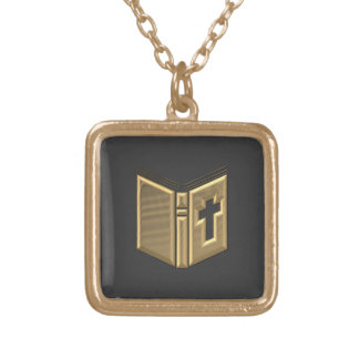 "Golden ""3-D"" Bible / Prayerbook / Hymnal Gold Plated Necklace"