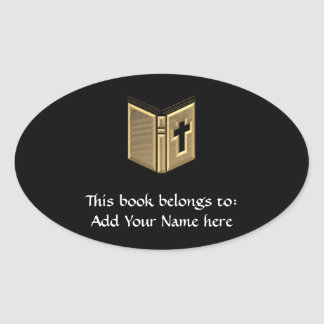 "Golden ""3-D"" Bible / Prayerbook / Hymnal Oval Sticker"