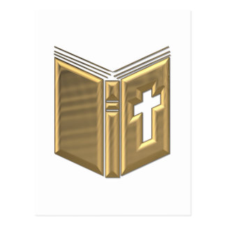 "Golden ""3-D"" Bible / Prayerbook / Hymnal Postcard"