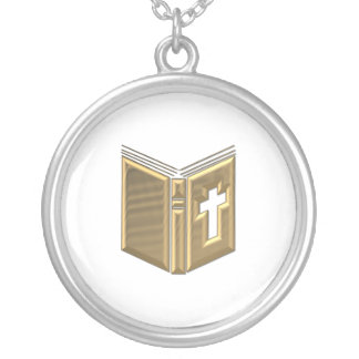 "Golden ""3-D"" Bible / Prayerbook / Hymnal Silver Plated Necklace"