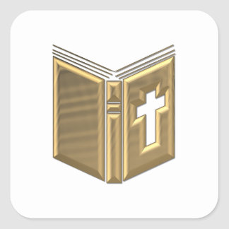 "Golden ""3-D"" Bible / Prayerbook / Hymnal Square Sticker"