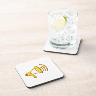 """Golden """"3-D"""" Bullhorn Drink Coaster"""