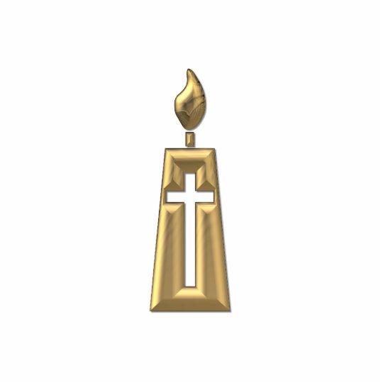 "Golden ""3-D"" Candle Cutout"