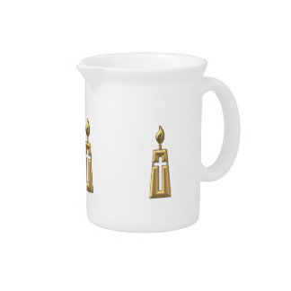 """Golden """"3-D"""" Candle Drink Pitcher"""