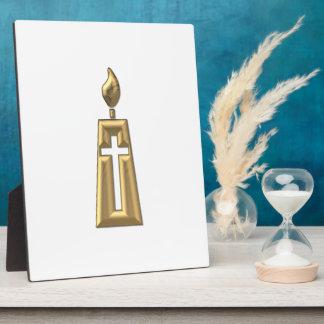 """Golden """"3-D"""" Candle Plaque"""