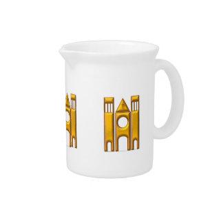 """Golden """"3-D"""" Cathedral 2 Beverage Pitcher"""