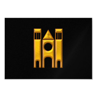 """Golden """"3-D"""" Cathedral 2 Card"""