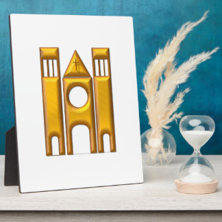 """Golden """"3-D"""" Cathedral 2 Plaque"""