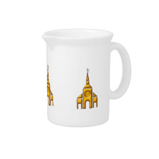"""Golden """"3-D"""" Cathedral Pitcher"""