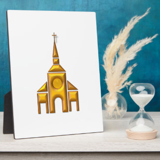 """Golden """"3-D"""" Cathedral Plaque"""