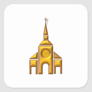 "Golden ""3-D"" Cathedral Square Sticker"