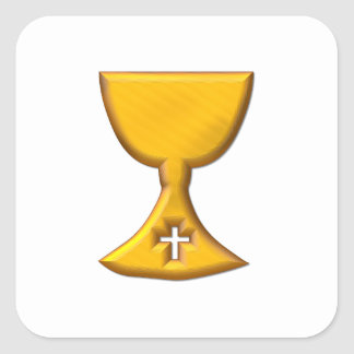 "Golden ""3-D"" Chalice Square Sticker"