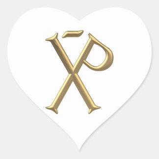 """Golden """"3-D"""" Chi-Rho 3 Heart Sticker"""