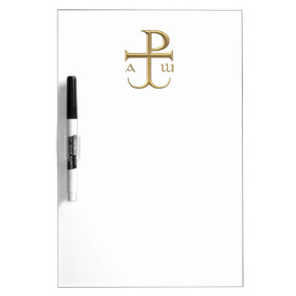 "Golden ""3-D"" Chi-Rho with Anchor 2 Dry Erase Board"