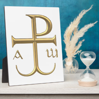 """Golden """"3-D"""" Chi-Rho with Anchor 2 Plaque"""