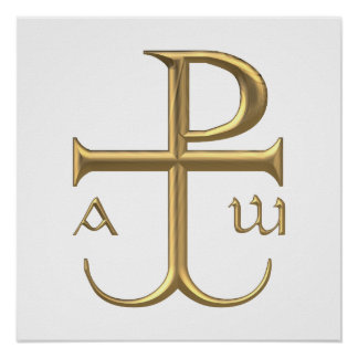"""Golden """"3-D"""" Chi-Rho with Anchor 2 Poster"""