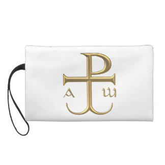 """Golden """"3-D"""" Chi-Rho with Anchor 2 Wristlet"""