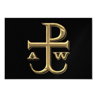 """Golden """"3-D"""" Chi-Rho with Anchor Card"""