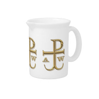 """Golden """"3-D"""" Chi-Rho with Anchor Drink Pitcher"""
