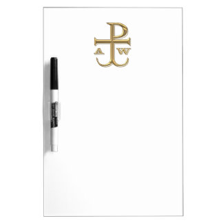 "Golden ""3-D"" Chi-Rho with Anchor Dry Erase Board"