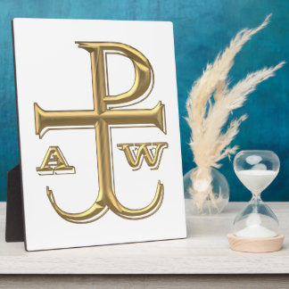 """Golden """"3-D"""" Chi-Rho with Anchor Plaque"""