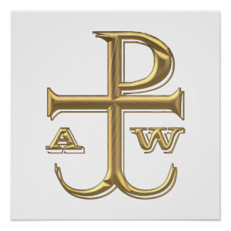"""Golden """"3-D"""" Chi-Rho with Anchor Poster"""