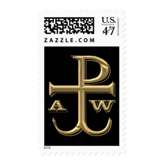 """Golden """"3-D"""" Chi-Rho with Anchor Stamp"""