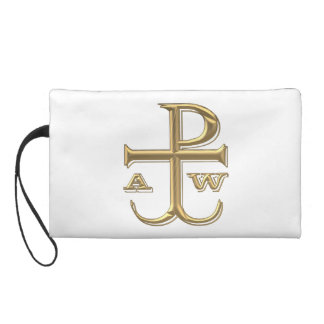 """Golden """"3-D"""" Chi-Rho with Anchor Wristlet"""