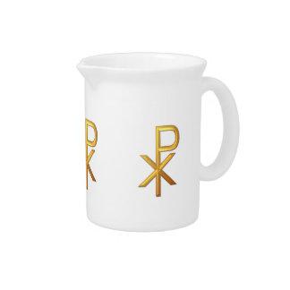 """Golden """"3-D"""" Chiro Drink Pitcher"""