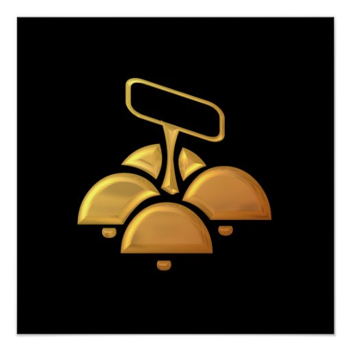 """Golden """"3-D"""" Church Bells Poster"""