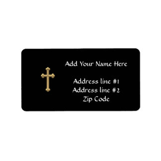 "Golden ""3-D"" Cross 2 Label"
