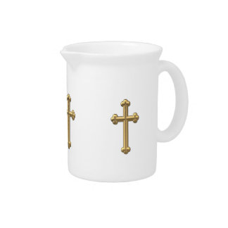 "Golden ""3-D"" Cross 2 Pitcher"