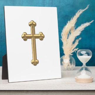 "Golden ""3-D"" Cross 2 Plaque"
