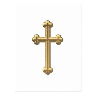 """Golden """"3-D"""" Cross 2 Postcard"""