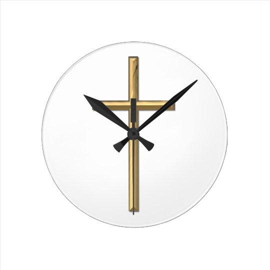 """Golden """"3-D"""" Cross Round Clock"""