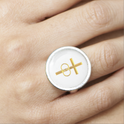 Golden 3-D Cross with Wedding Rings