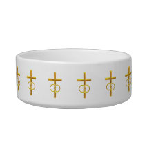 Golden 3-D Cross with Wedding Rings Bowl