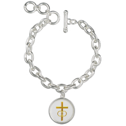 Golden 3-D Cross with Wedding Rings Bracelets