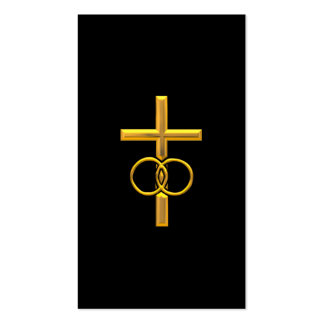 Golden 3-D Cross with Wedding Rings Business Card Templates