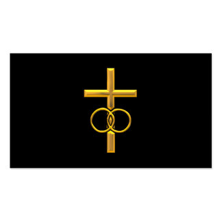 Golden 3-D Cross with Wedding Rings Business Card