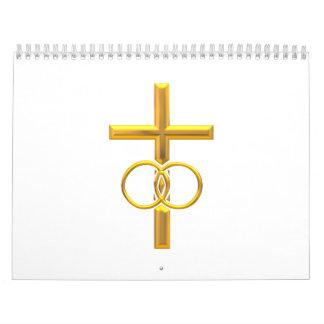 Golden 3-D Cross with Wedding Rings Wall Calendars