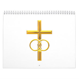 Golden 3-D Cross with Wedding Rings Calendar