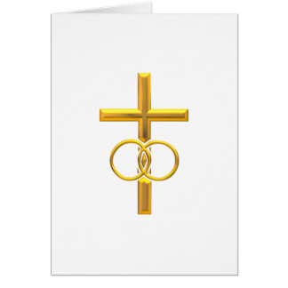 Golden 3-D Cross with Wedding Rings Card